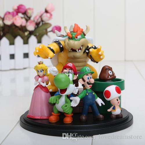 New Set Super Mario Bros Koopa Bowser Mario Luigi Princess Peach Yoshi Toad Goomba PVC Action Figure Kids birthday Gifts Phone Accessories