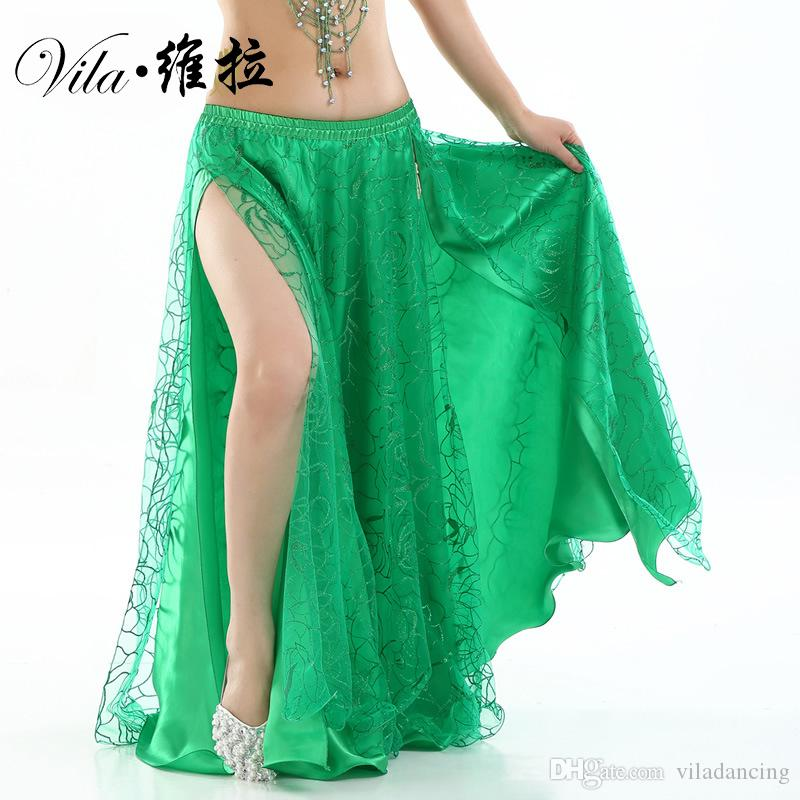 6260f584c5 2019 New Women Belly Dance Clothes Full Circle Maxi Skirt Side Split Long  Skirt 2 Layers Rose Belly Dance Skirts From Viladancing, $23.02 | DHgate.Com