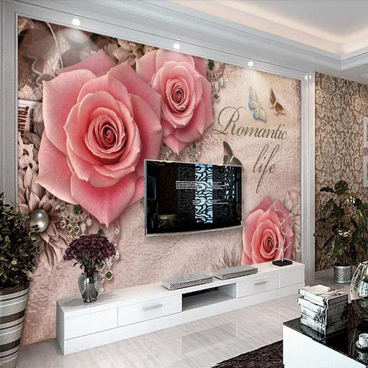 3d salon papier peint murale chambre à coucher simple chaude papier peint  personnalité rétro rose TV fond décoration murale