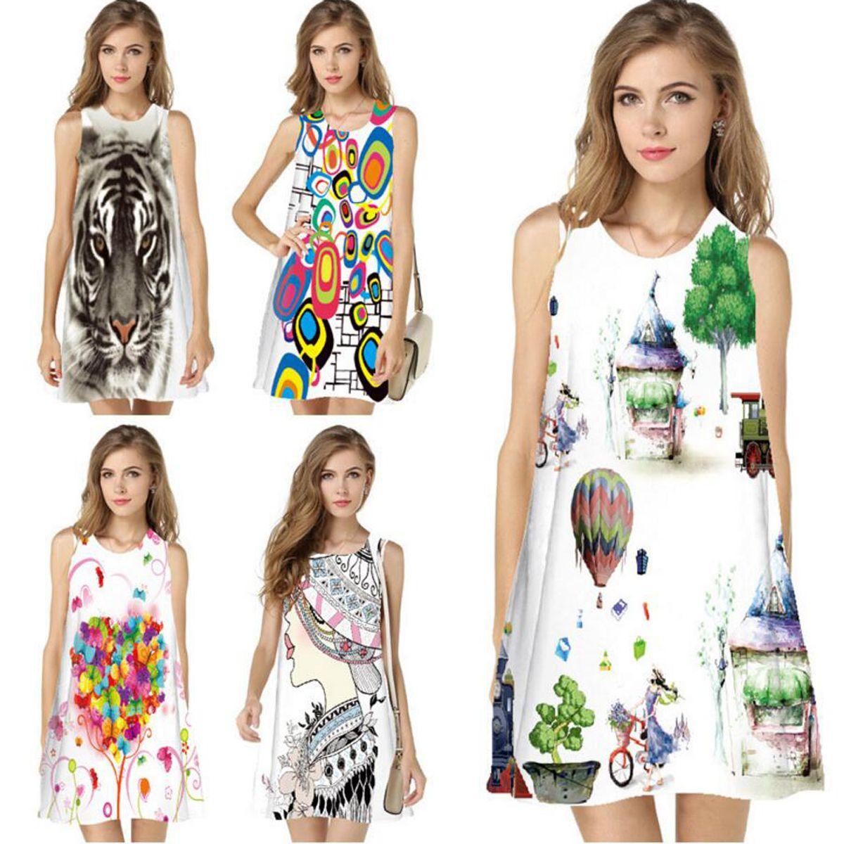 0786b2aa68 Women Dresses Digital Print Dress Summer New Fashion Boho Style Beach Dress  Sleveless Round Neck Mini Vestidos Shirt Dresses Fashion Dress From  Zclgarments, ...