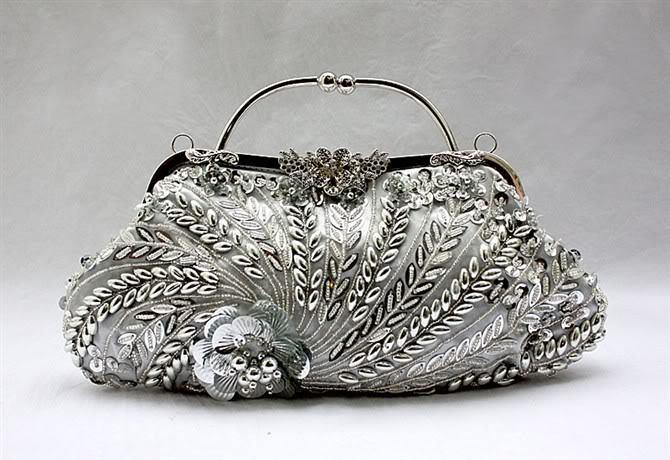 Silver Chinese Women's Beaded Sequined Handbag Clutch Banquet Wedding Evening Bag Purse Makeup Bag Free Shipping 1889-A Y18103004