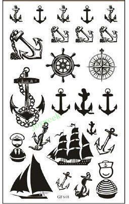 2be81abe82b3e Waterproof Temporary Tattoo Sticker Anchor Compass Sailboat Tatto Stickers  Flash Tatoo Fake Tattoos For Women Girl Men Child Fashion Temporary Tattoos  ...
