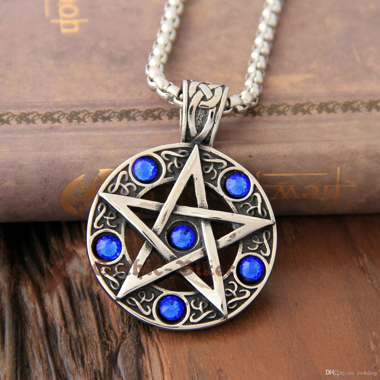 Wholesale celtic wicca pentacle pentagram star blue cz stones wholesale celtic wicca pentacle pentagram star blue cz stones stainless steel pendant witch and wizard magic witchcraft charm necklace charms charms for aloadofball Image collections