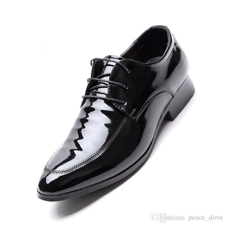 998aeb1c Compre Balck Charol Hombres Zapatos De Vestir Zapatos De Oficina Hombres  Zapatos Casuales Brillantes Zapatos Elegantes Hombre Schoenen Mannen Zapato  Hombre ...