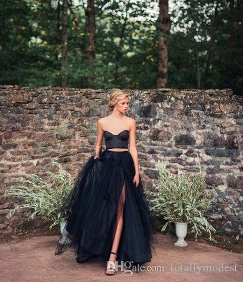 Black Gothic Wedding Dresses With Color Colorful Non White Sweetheart Boho Vintage Informal Bridal Gowns Colored Custom Made