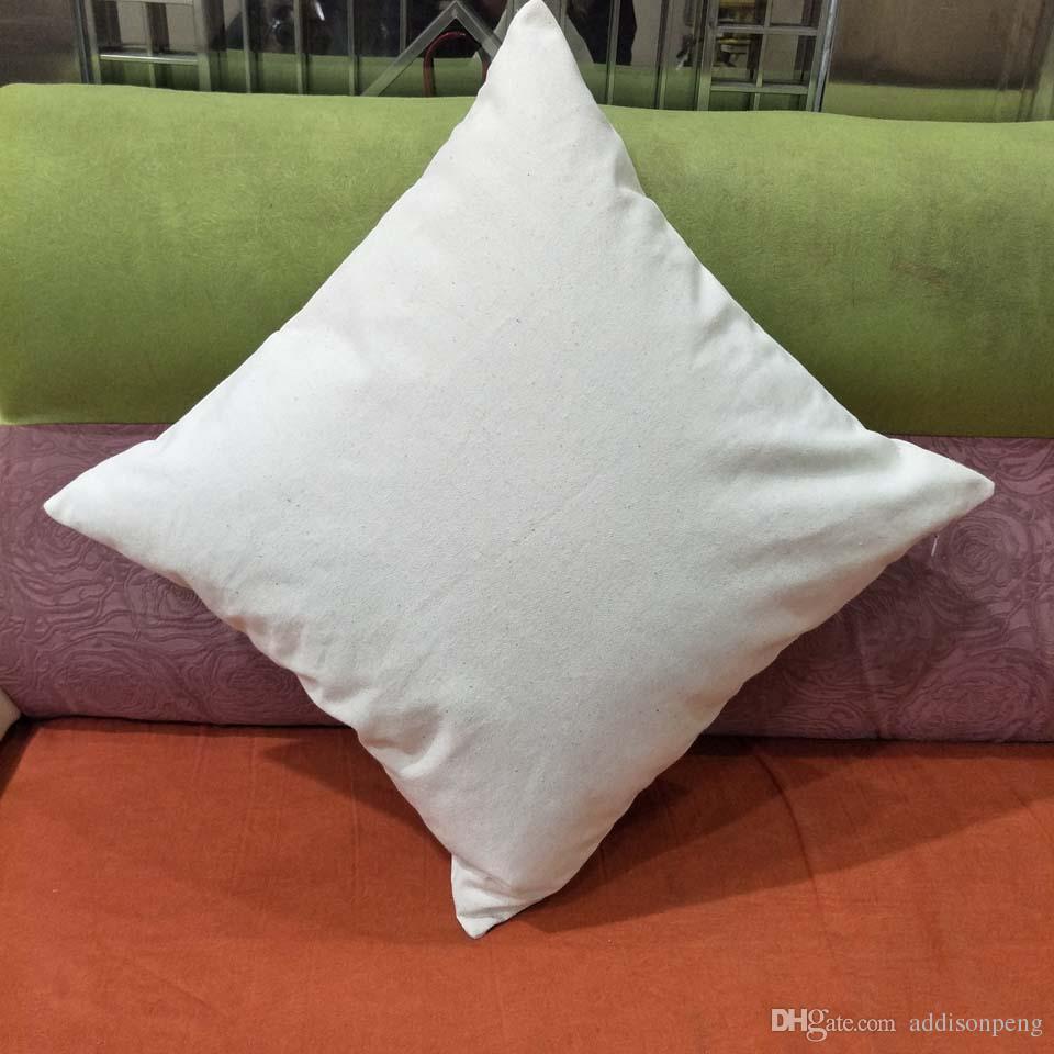 12 oz kalın düz doğal pamuk kanvas yastık kılıfı doğal ışık fildişi boş yastık örtüsü 18 * 18in yastık örtüsü ile gizli zip