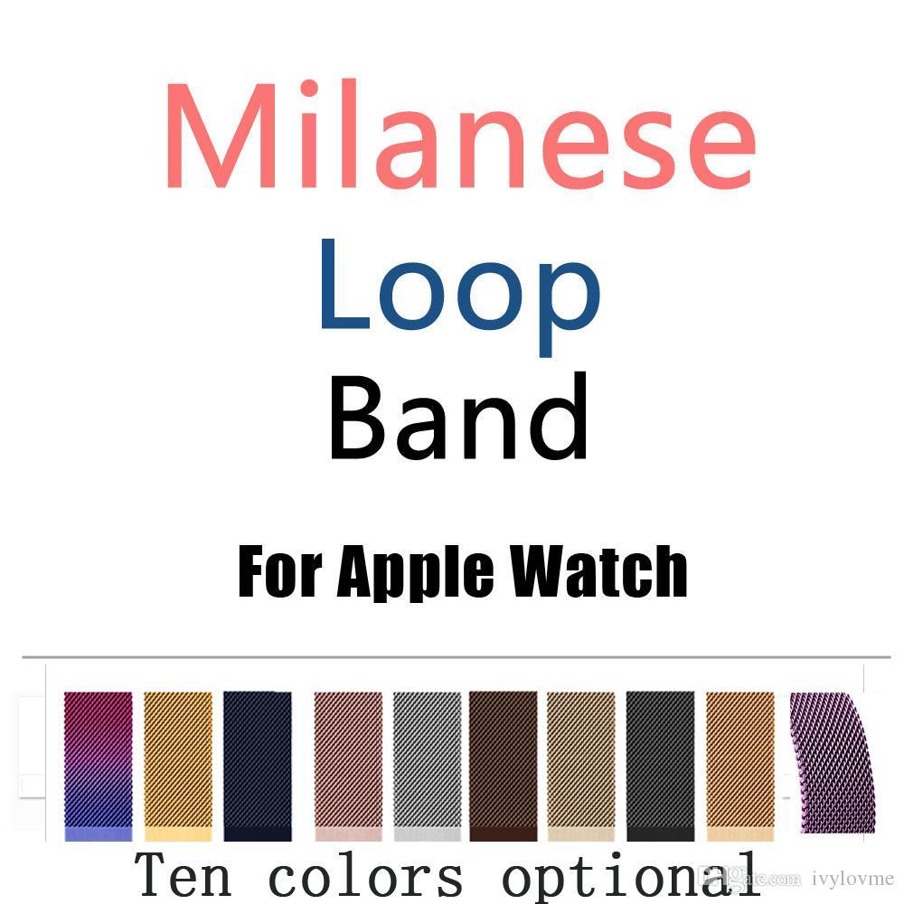 Banda de bucle milanesa para Apple Watch 38 / 42mm Series 1/2/3 Correa de acero inoxidable Correa Reloj de pulsera de pulsera Reemplazo