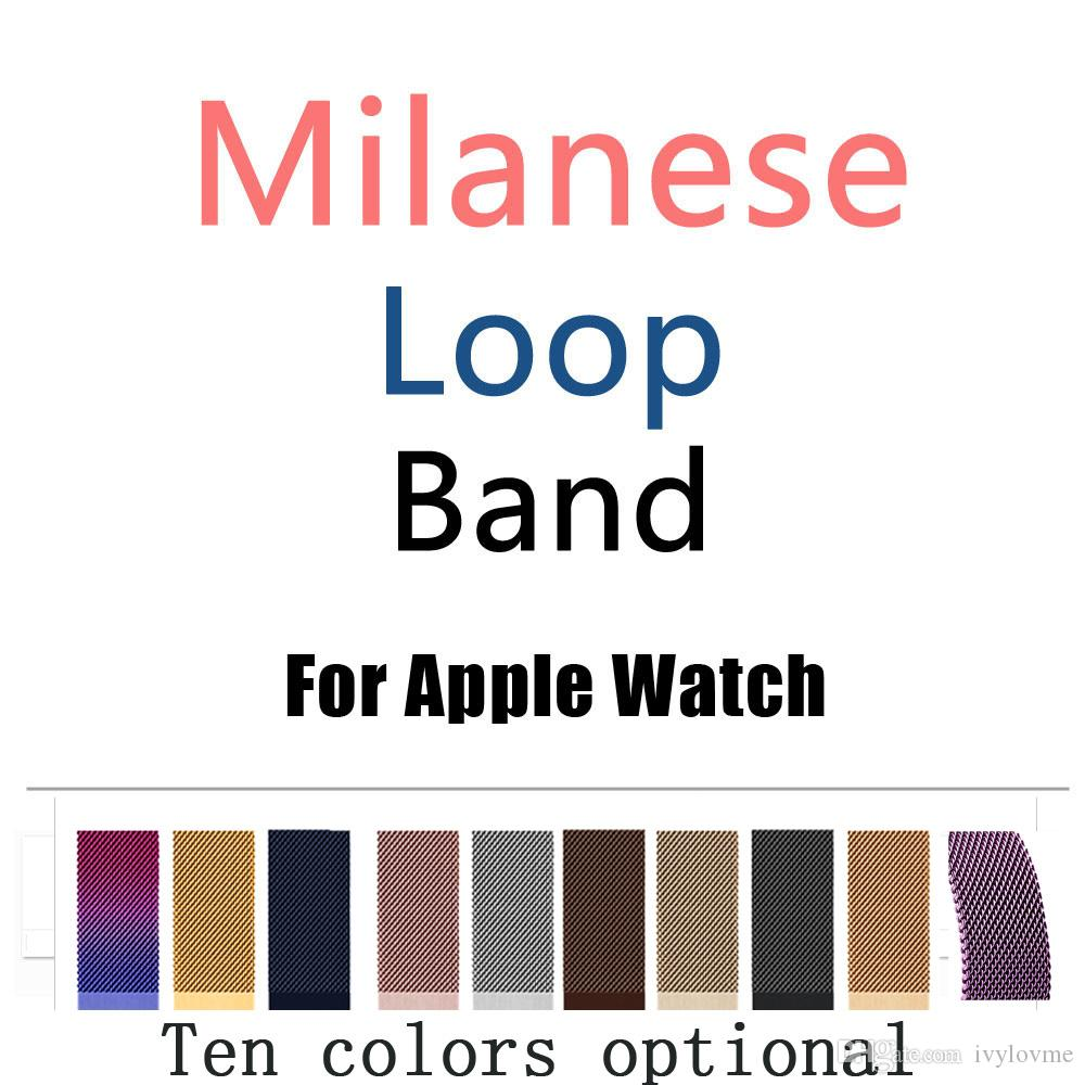 Hot Band Strap 38MM 42MM Milanese Loop Magnetic Stainless Steel Watchband With Adapter Connector For Apple Watch Series 1 2 3