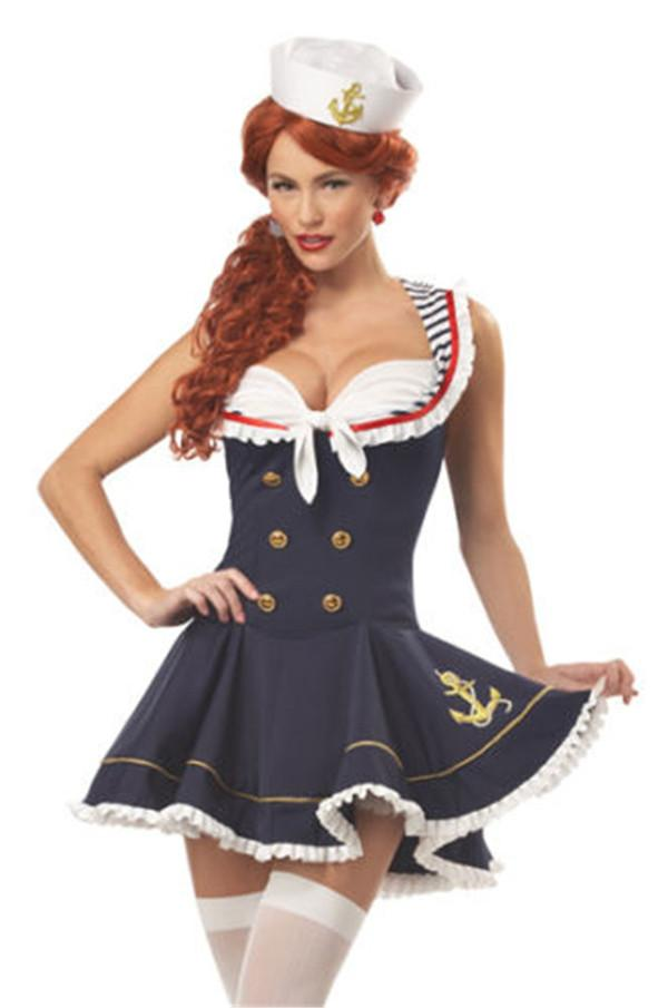4095d23a56b68 2019 Women Sexy Fancy Uniform Adult Sailor Costume Women Pinup Girl Navy  Halloween Costumes For From Xiamen2013, $38.27 | DHgate.Com