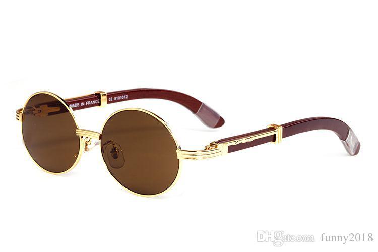 644eefdc99e76 2018 Moda Rodada Óculos De Sol Para Homens Mulheres Chifre de Búfalo Óculos  Estilos de Verão De Luxo Da Marca Designer de Óculos De Sol De Madeira Com  Caixa ...