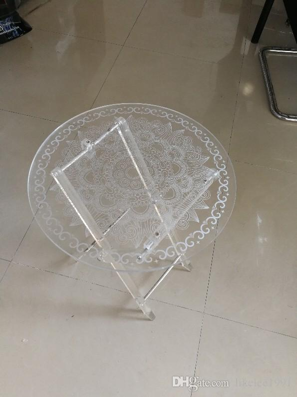 Hot sell mini clear white acrylic coffee table round acrylic folding coffee table acrylic table for Sale On Asia