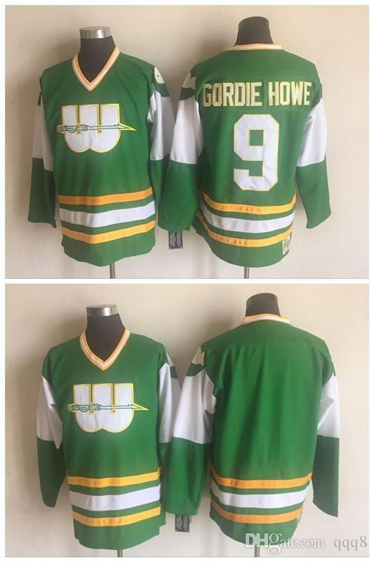 best website f2116 7bc5e Hartford Whalers Jersey 9 Gordie Howe Green 100% Stitched CCM Vintage  Hockey Jerseys