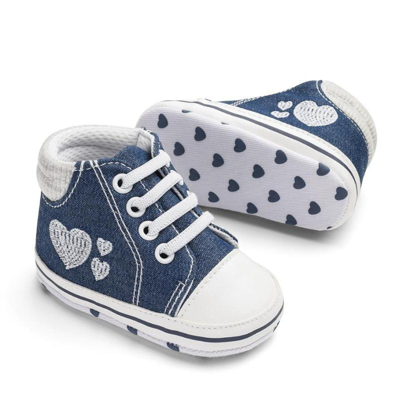 Dark Blue/Pink Cotton Cloth Baby Boys Girls Heart Shape Shoes Sports Sneakers First Walkers Toddler Pre-walker toddler shoes