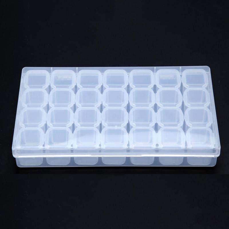 28 Slots Adjustable Clear Plastic Storage Box Case Jewelry Makeup Bead Organizer For Home Room Box