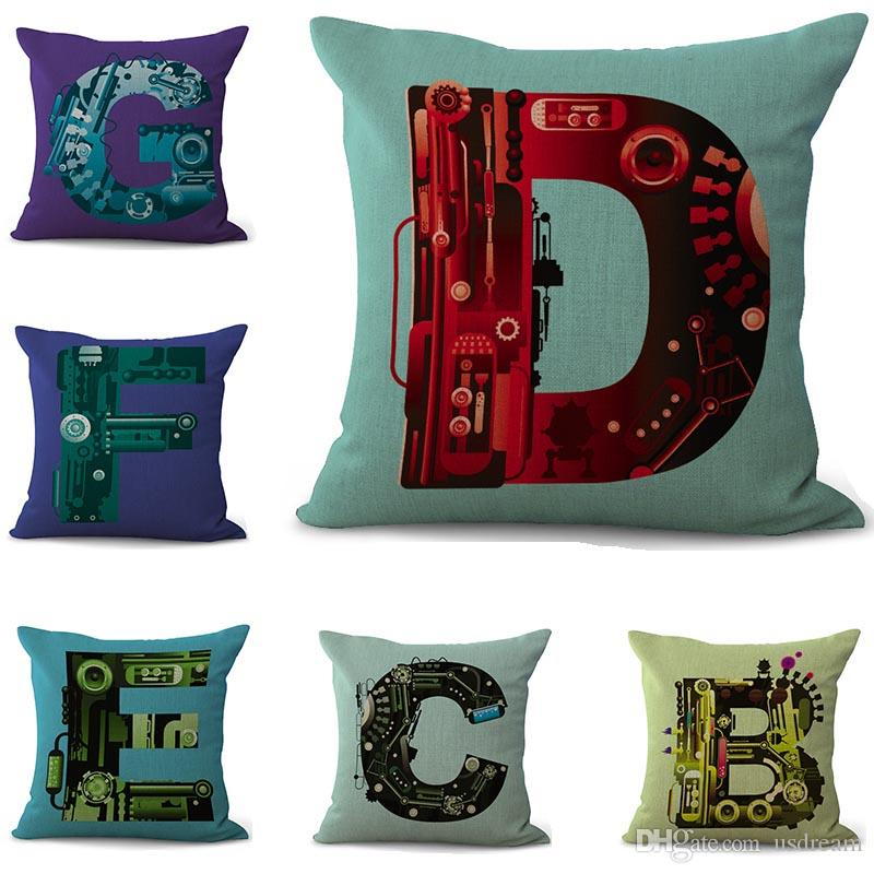 Industrial Style 40 A Z English Letter Initial Pillow Case Cushion Awesome Initial Pillow Covers