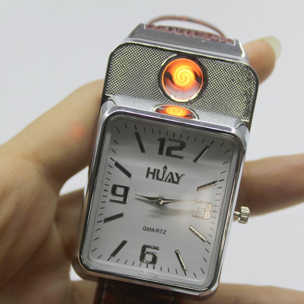 31b265a4fad Compre 2018 Usb Mais Leve Relógio Dos Homens Casuais Relógios De Pulso De  Quartzo Com Relogio À Prova De Vento Sem Chama Cigarro Mais Leve Relógios  Homens ...