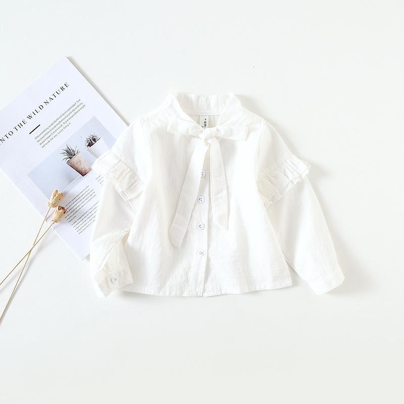 d9b1b3f56 Compre SIN Baby Girl Ropa Camisa Soporte Cuello Manga Larga Color Blanco  Niña Camisa Primavera Otoño Chica Ropa Camisa A  8.35 Del Lolitaboutique