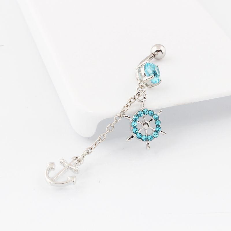Corpo roda jóias âncora do navio Leme dangle corpo piercing no umbigo anéis de umbigo Bar Cristal Gems 316L barra de aço cirúrgico 14G