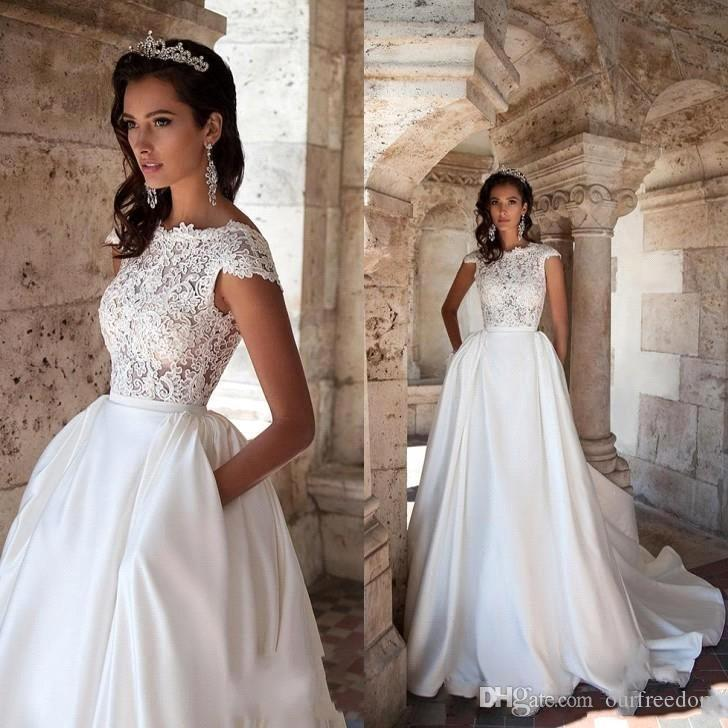 Petite Gowns For Weddings: Discount 2019 New Vintage A Line Wedding Dresses With