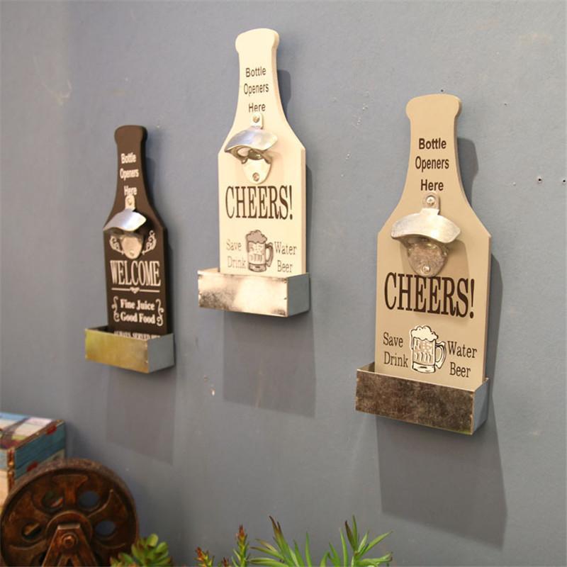 Kitchen Metal Wood Wine Beer Bottles Opener 3 Colors Home Bar Bottles  Opener Wall Mounted Openers Kitchenware Barware Supplies