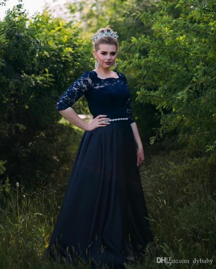 2018 sexy plus size navy blue mother of the bride dresses long sleeves lace prom dresses evening gowns