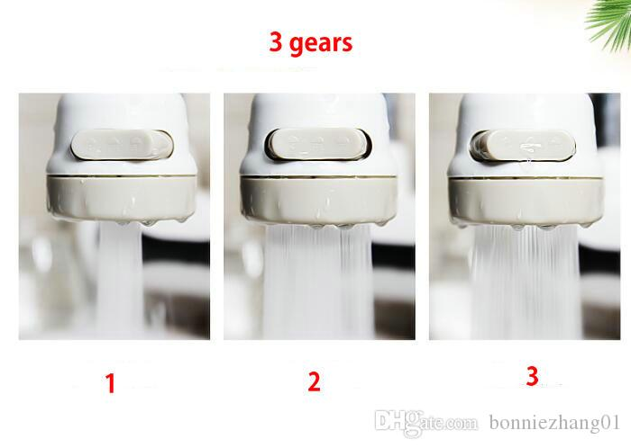 360 Degree Rotating Water Bubbler Swivel Head 3 Gears Water Saving Faucet Aerator Nozzle Tap Adapter Device