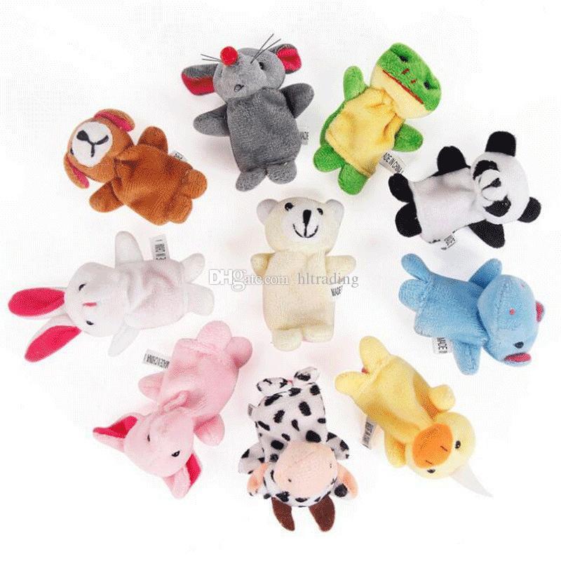 Chinesisches Tierzeichen 12 teile / los Tiere Cartoon Biologische Fingerpuppe Plüschtiere Baby Favor Fingerpuppen C4081