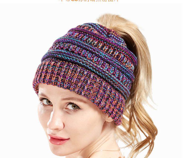 Beanie Women Messy Bun Woolen Hats Winter Skullies Beanies Knitted Warm Cap  Mix Color Warm Knit Caps Bun Woolen Hats Warm Knit Caps Warm Cap Online  with ... df3612729