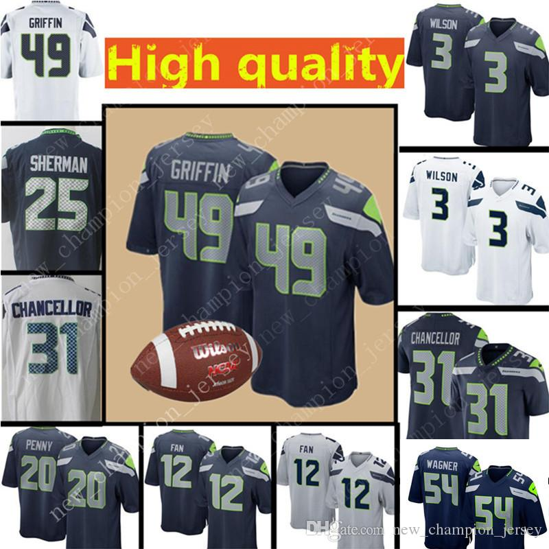 Men s Seattle Seahawks Jersey 49 Shaquem Griffin 3 Russell Wilson ... fa55416e0