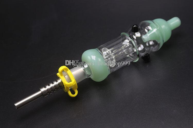 Tuyau de 6 couleurs Nector Plus avec clip de 14mm titane, clou à quartz, clou à quartz pour verre à eau Bang pour Somking