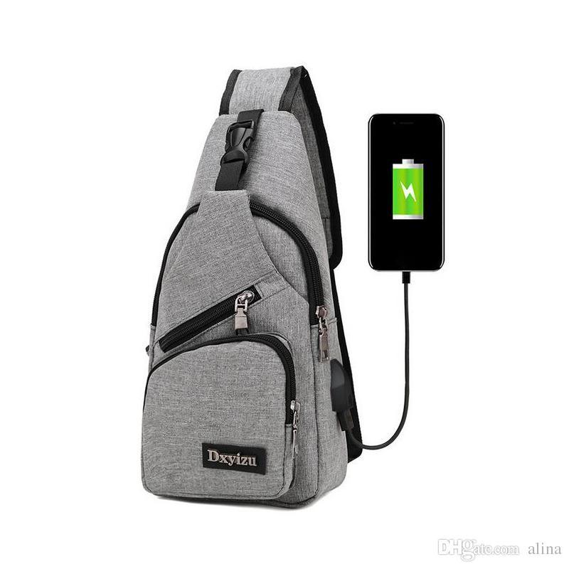 2e23808f1558 Men USB Chest Bag Sling Bag Large Capacity Handbag Crossbody Bags ...