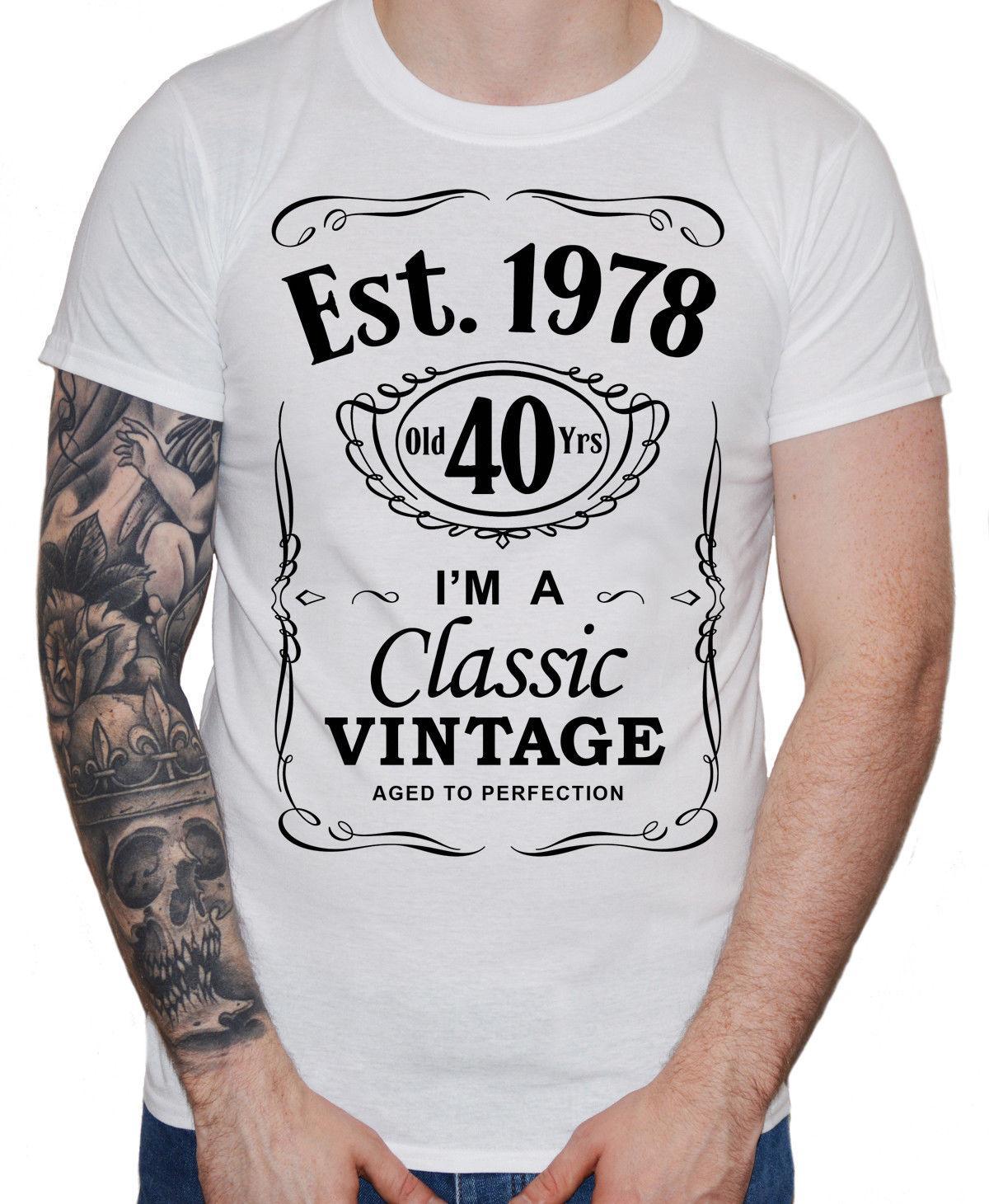 Herren 40 Geburtstag T Shirt Est 1978 Vintage Man Vierzigstel 40