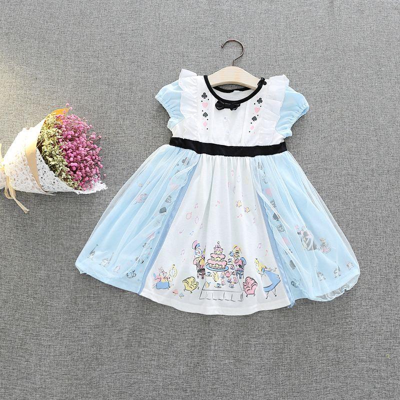 Alice Principessa Biancaneve Dress Baby Girls Abiti Puff Sleeve Tulle Abiti da festa Chistmas TuTu Dress Mermaid Costume