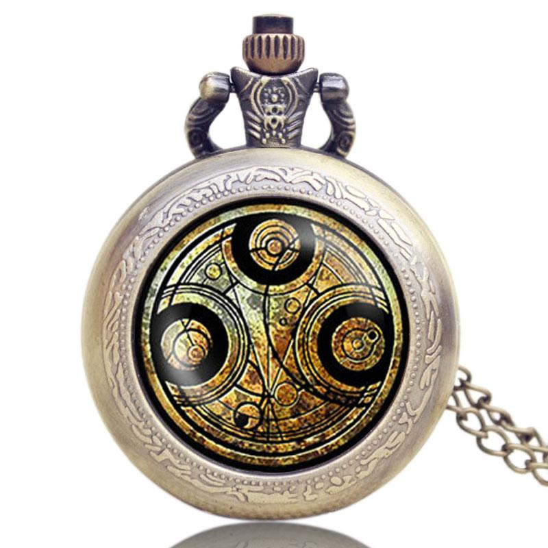 Watches 2016 New Arrival Doctor Who Theme Bronze With Glass Dome Case Quartz Pocket Watch Best Birthday Gift
