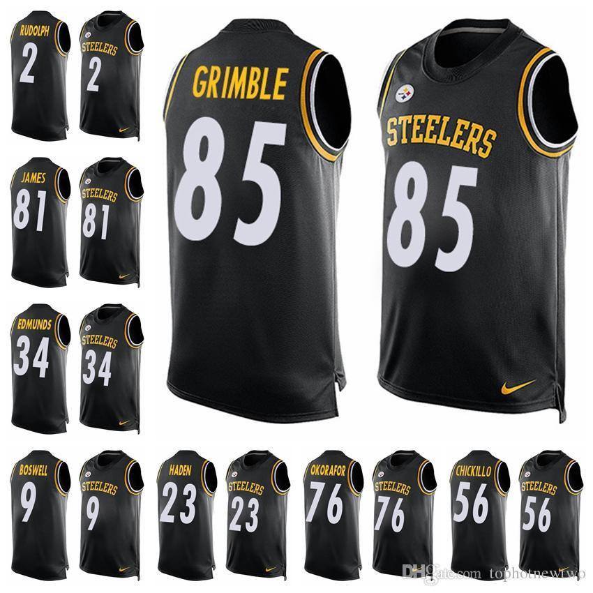 44937bed27a 2018 Pittsburgh Black Player Name   Number Tank Top Steelers 26 Bell Jersey  84 Antonio Brown 90 T.J. Watt Limited Football Jersey 85 From Jerseyptb6
