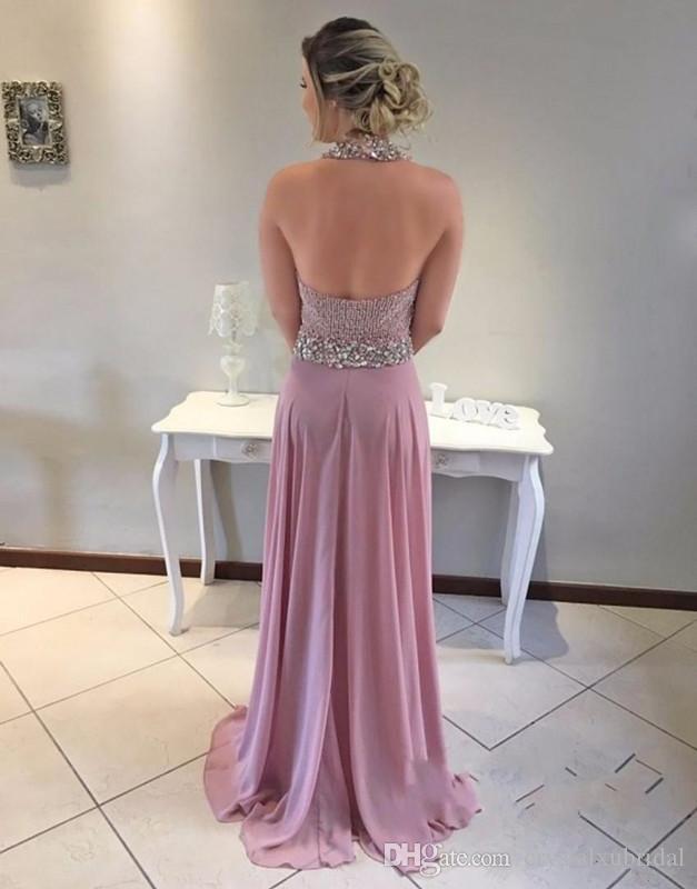 2018 Nuevos vestidos de baile sexy Cuello alto Ojo de cerradura Gasa Rebordear Cristal Espalda abierta Largo Más tamaño Vestido de fiesta formal Vestido de noche Vestidos