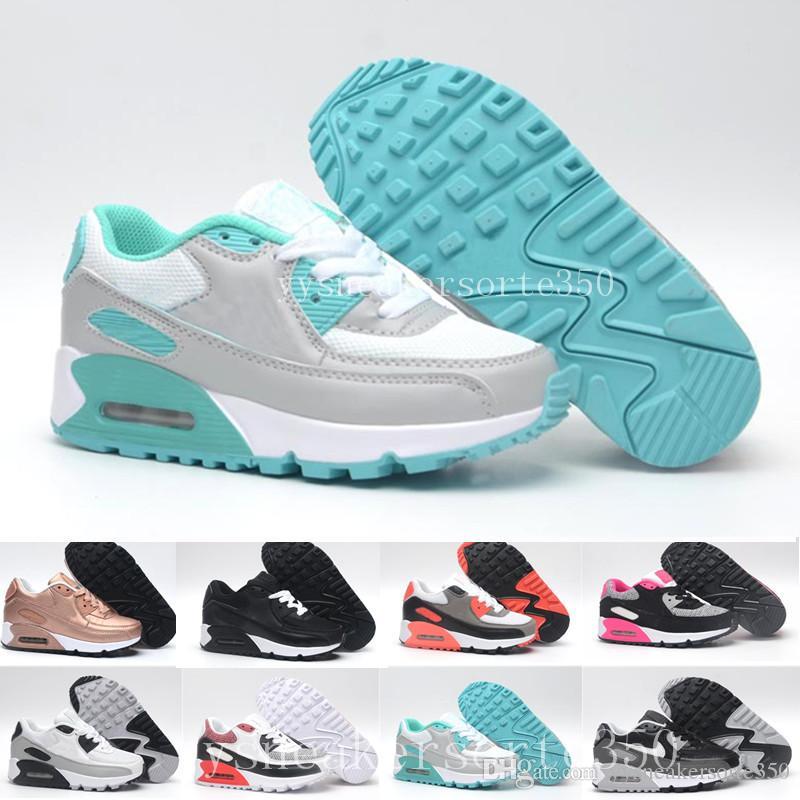reputable site 94e2a 96079 Acheter Nike Air Max 90 Airmax Chaussures Enfants Enfants Classiques 90 Vt  Garçons Et Filles Chaussures De Course Noir Rouge Blanc Sports Trainer  Coussin ...