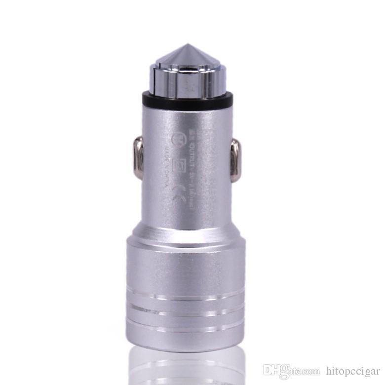 5V 2.1A Автомобильное зарядное устройство Безопасности Молотный дизайн Алюминиевый сплав Двойной USB Сотовый телефон Зарядные устройства для iPhone Samsung
