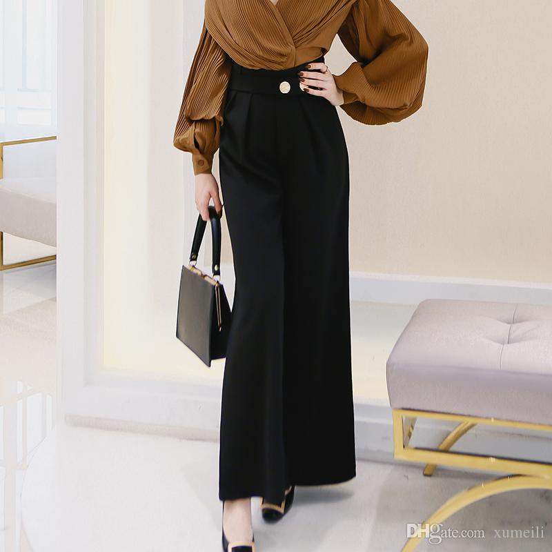 7d240c82eda8 2018 Spring New Pattern Fashion Sash High Waist Korean Loose Wide ...