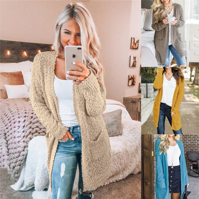 aaf0153050a873 Women's Knit Cardigan Casual Long Sleeve Sweater Coats With Pockets Women  Autumn Winter thick yarn Knitted Cardigans Sweaters
