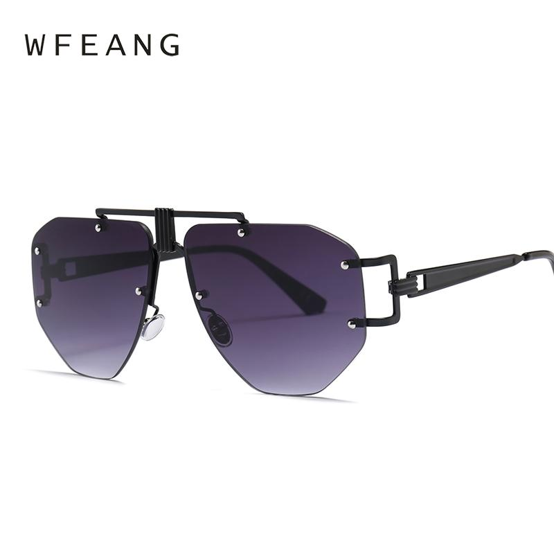 239b7029120 WFEANG Rimless Oversized Sunglasses Women Vintage Red Pink Luxury ...