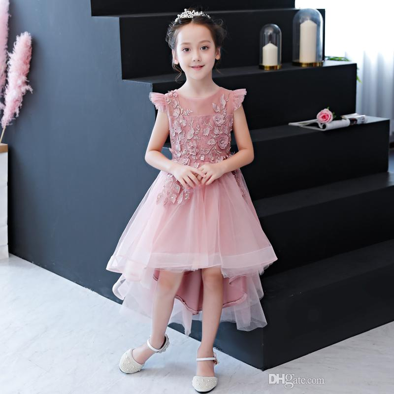72f74f4ce97 Flower Girls Floral Tulle Wedding Dress Kids Birthday Party Prom Ball Gown  Children First Communion Evening Formal Dresses Bridal Bridal Gowns From ...