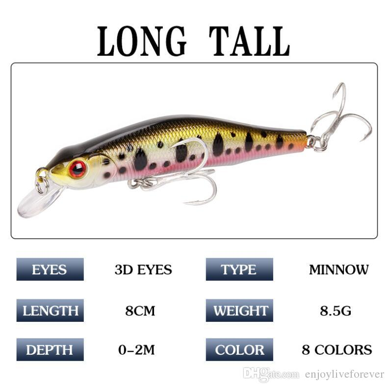 3D Eyes Floating Laser Minnow Fishing Lures 9.8g 8cm Artificial Hard Wobblers Crankbait Plastic Baits Fishing Tackle Combo