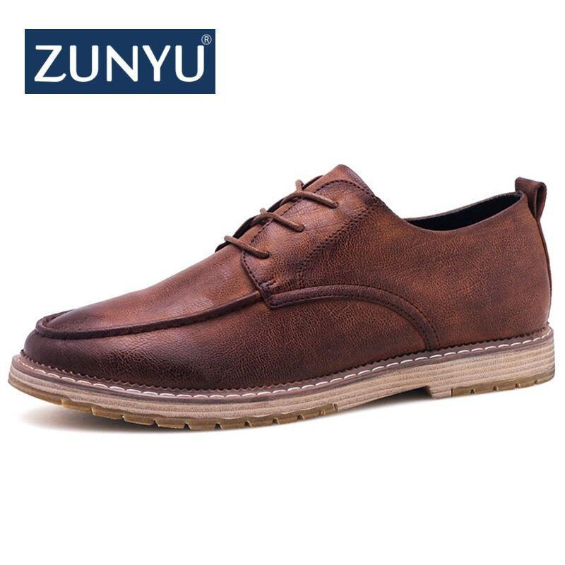 797dbb9437b9 ZUNYU 2018 Autumn New Casual Shoes Mens Leather Flats Lace-Up Shoes Simple  Stylish Male Large Sizes Oxford For Men