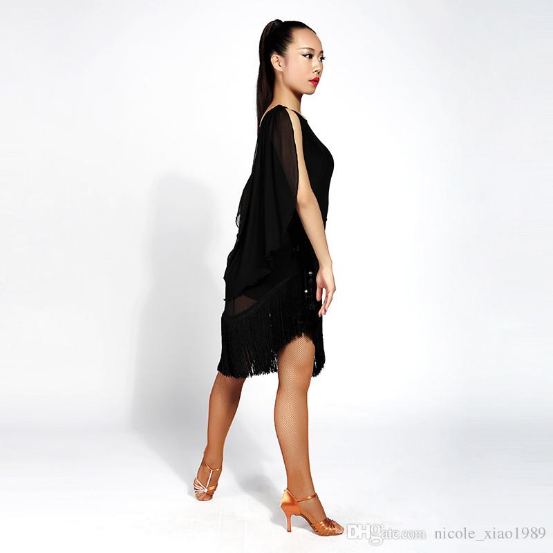 Neue Frauen Latin Dance Kleid Salsa Tango Cha Cha Ballsaal Wettbewerb Praxis Tanzkleid Sexy Sleeveless Quaste Kleid S-XL