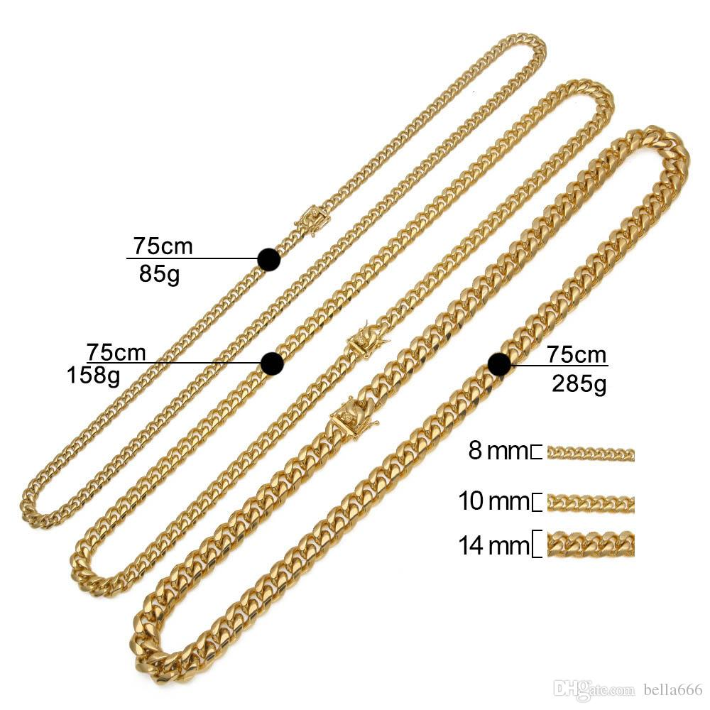 Men Cuban Miami Chain Hip Hop 316L Stainless Steel Chains Clasp Buckle Necklaces Jewelry 30inch Gold Silver Color 8mm 10mm 12mm 14mm Width
