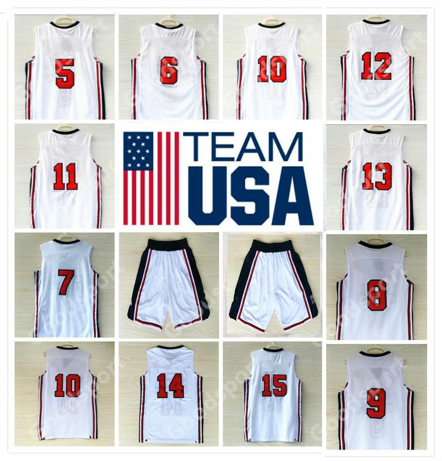 2a00ab30a3fd 1992 USA Dream Team Jersey 5 Robinson 6 Ewing 7 Bird 8 Pippen 10 ...