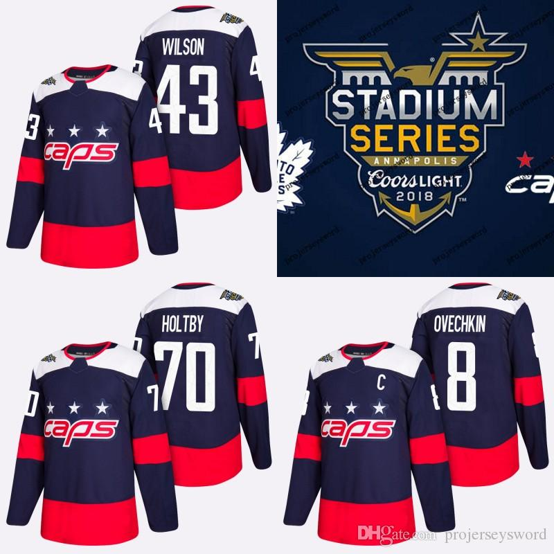 best loved dfb1e 3cf77 #43 Tom Wilson Jersey 2018 Stadium Series Washington Capitals 8 Alex  Ovechkin 70 Braden Holtby 92 Evgeny Kuznetsov Hockey Jerseys Blue