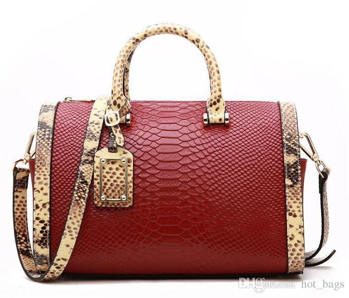 afaca17aef 2018 New Cowhide Handbag Boston Handbags Snake Pattern Shoulder Bags ...