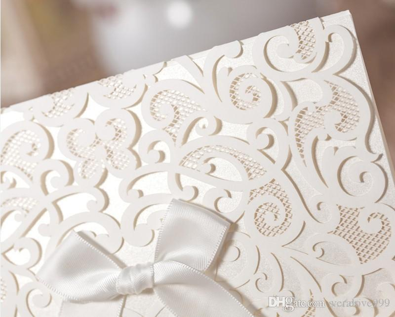 Invitaciones de boda de encaje 2018 Invitación de fiesta de cinta Blanco Convite De Casamento Invitación de boda personalizada de impresión de tarjeta